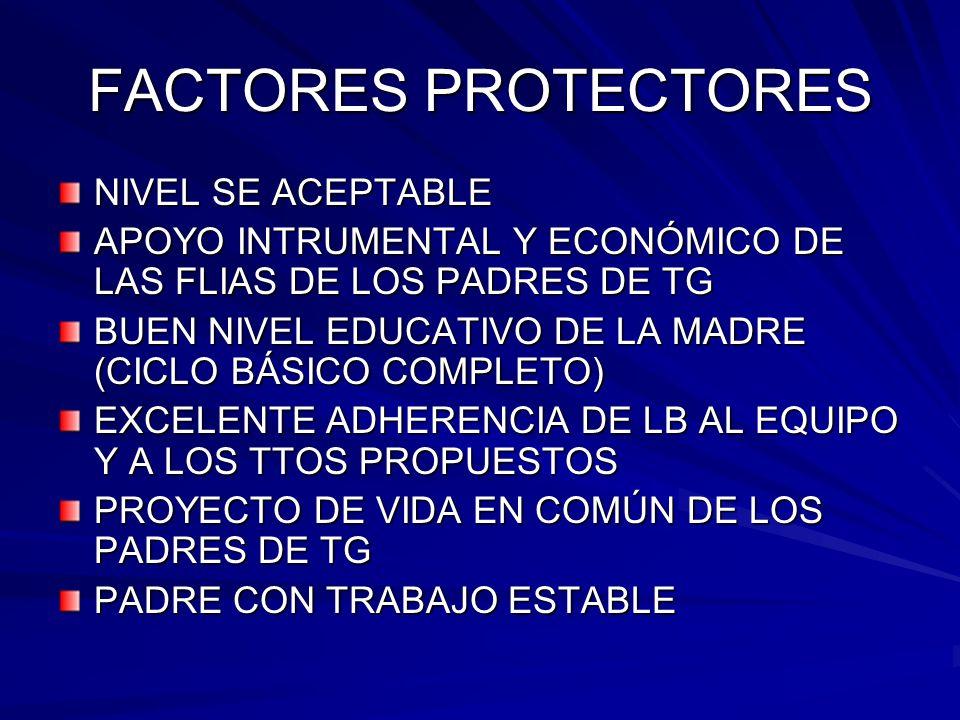 FACTORES PROTECTORES NIVEL SE ACEPTABLE APOYO INTRUMENTAL Y ECONÓMICO DE LAS FLIAS DE LOS PADRES DE TG BUEN NIVEL EDUCATIVO DE LA MADRE (CICLO BÁSICO