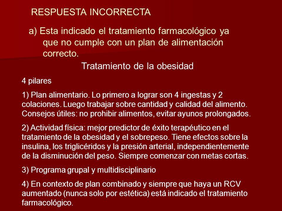 OTROS FACTORES DE RIESGO CV Y COMORBILIDADES Con respecto al tratamiento de la obesidad en esta paciente ¿cual de las siguientes afirmaciones NO es co