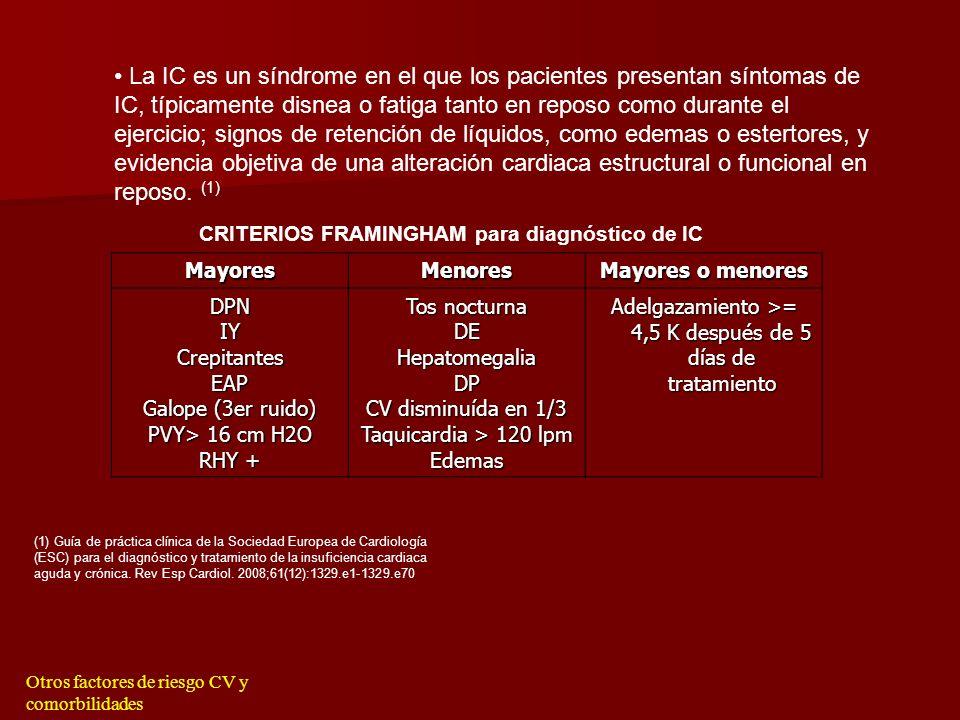 Otros factores de riesgo CV y comorbilidades RESPUESTA CORRECTA b) Presenta una insuficiencia cardíaca diastolica. No hay ningún fármaco que haya demo