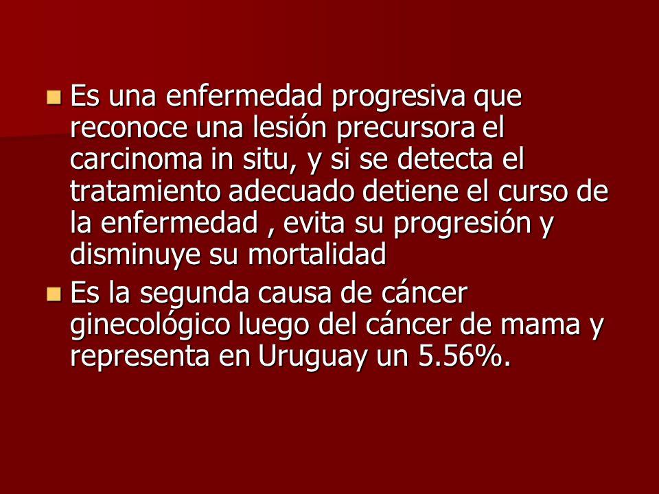 RESPUESTA CORRECTA d) la detección de la lesión precursora, carcinoma in situ, y tratamiento precoz detiene el curso de la enfermedad y disminuye la m
