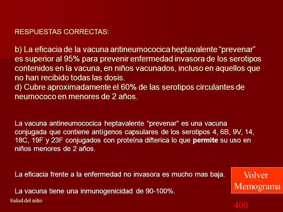 400 Salud del niño 4Con respecto a la vacuna antineumococica heptavalente prevenar, ¿cual de las siguientes opciones es la correcta?: a) La vacuna ant