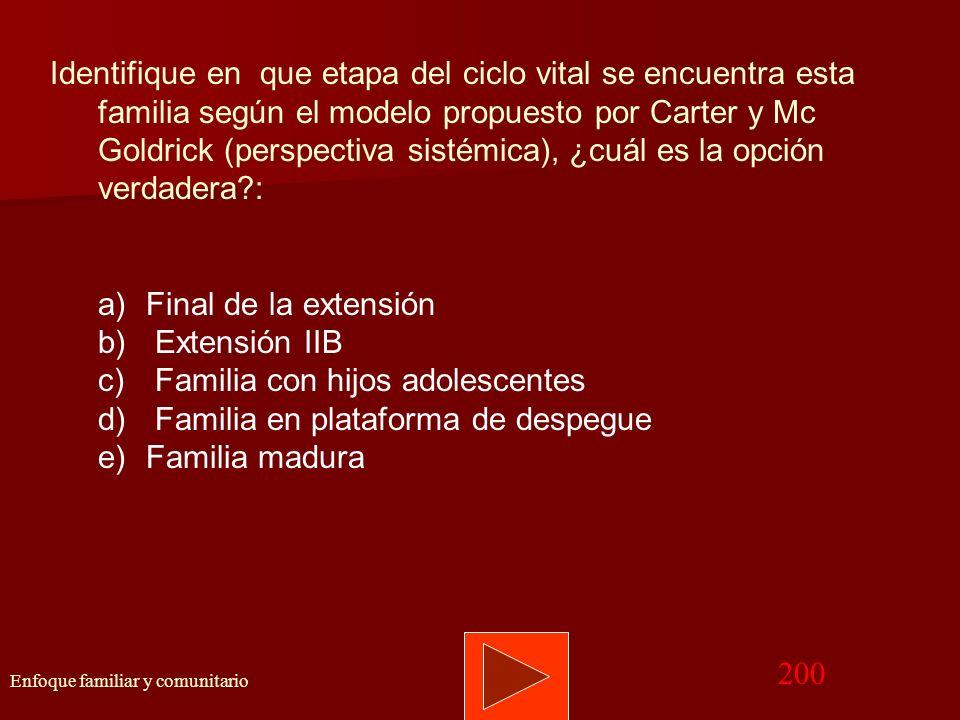 Volver Memograma Enfoque familiar y comunitario 100 RESPUESTA CORRECTA: d) Familia extendida. De acuerdo a las características de la estructura de par