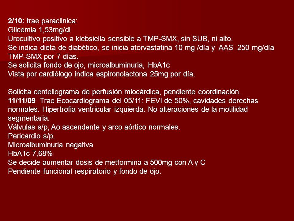 Se solicita RxT: índice cardiotorácico aumentado, distensión de venas pulmonares. Resto normal. ECG: a destacar eje desviado a extrema izquierda. Onda