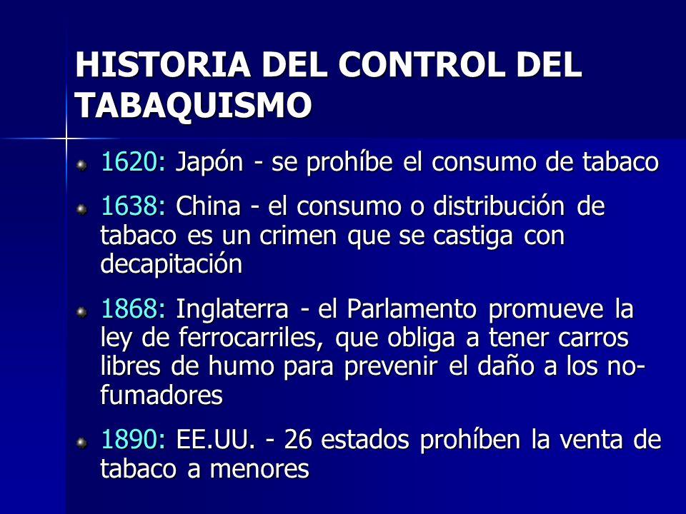 1620: Japón - se prohíbe el consumo de tabaco 1638: China - el consumo o distribución de tabaco es un crimen que se castiga con decapitación 1868: Ing
