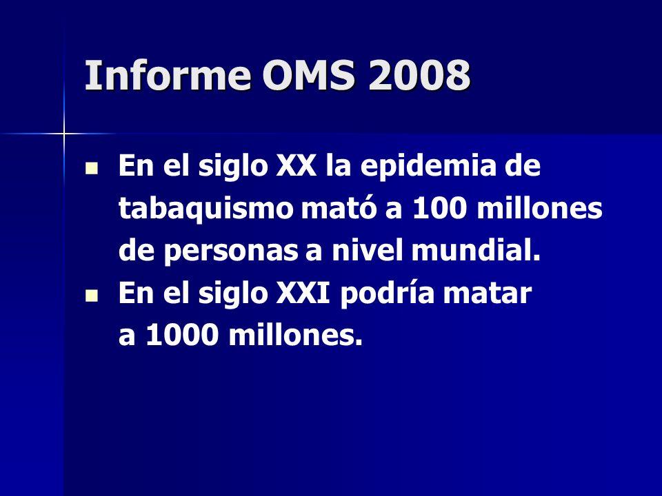 Informe OMS 2008 En el siglo XX la epidemia de tabaquismo mató a 100 millones de personas a nivel mundial. En el siglo XXI podría matar a 1000 millone