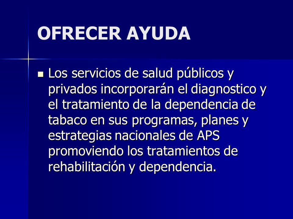 OFRECER AYUDA Los servicios de salud públicos y privados incorporarán el diagnostico y el tratamiento de la dependencia de tabaco en sus programas, pl