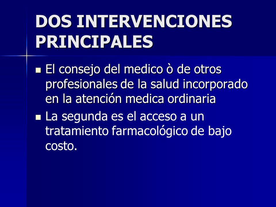 DOS INTERVENCIONES PRINCIPALES El consejo del medico ò de otros profesionales de la salud incorporado en la atención medica ordinaria El consejo del m