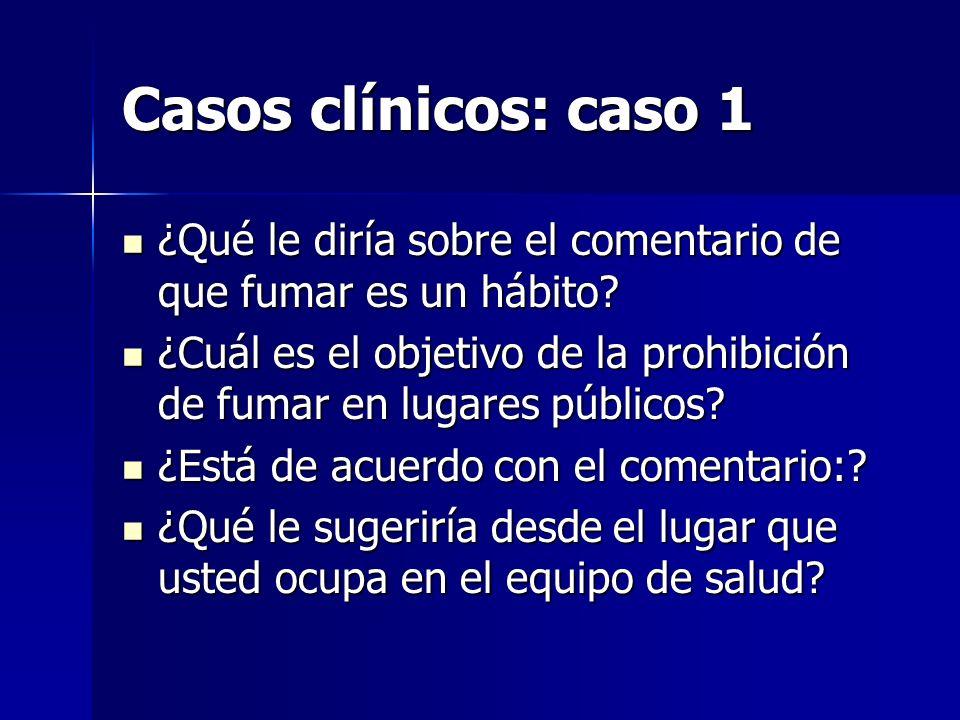 Casos clínicos: caso 1 ¿Qué le diría sobre el comentario de que fumar es un hábito? ¿Qué le diría sobre el comentario de que fumar es un hábito? ¿Cuál