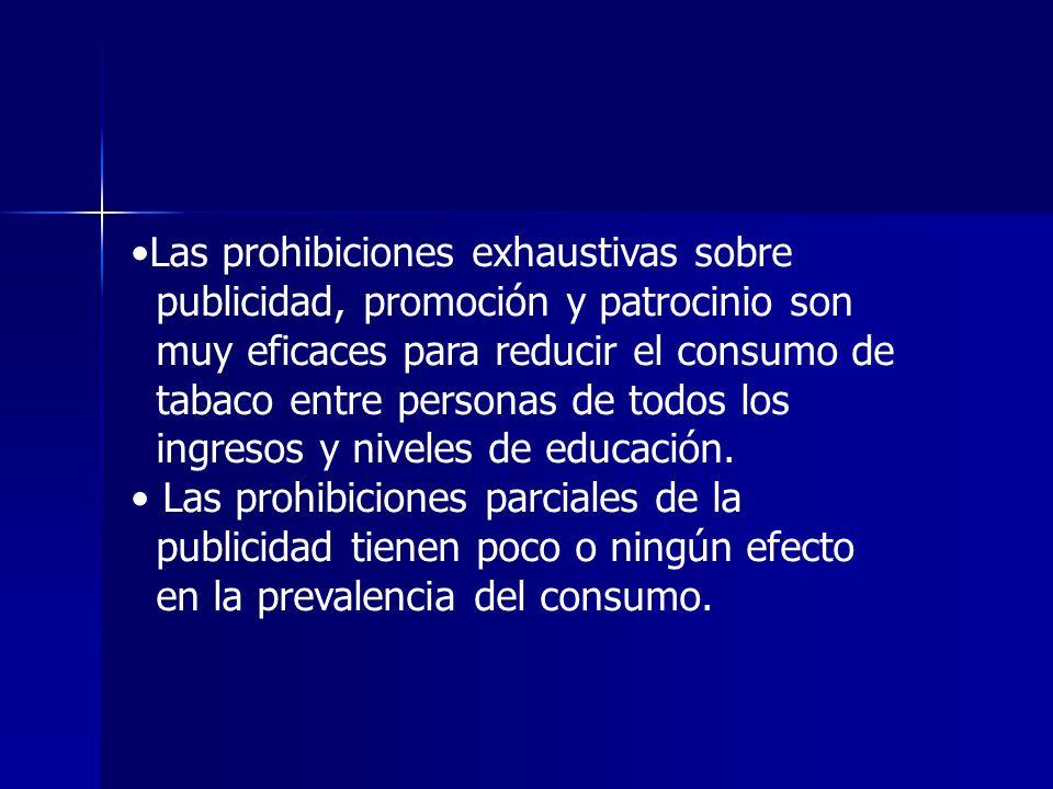 Las prohibiciones exhaustivas sobre publicidad, promoción y patrocinio son muy eficaces para reducir el consumo de tabaco entre personas de todos los