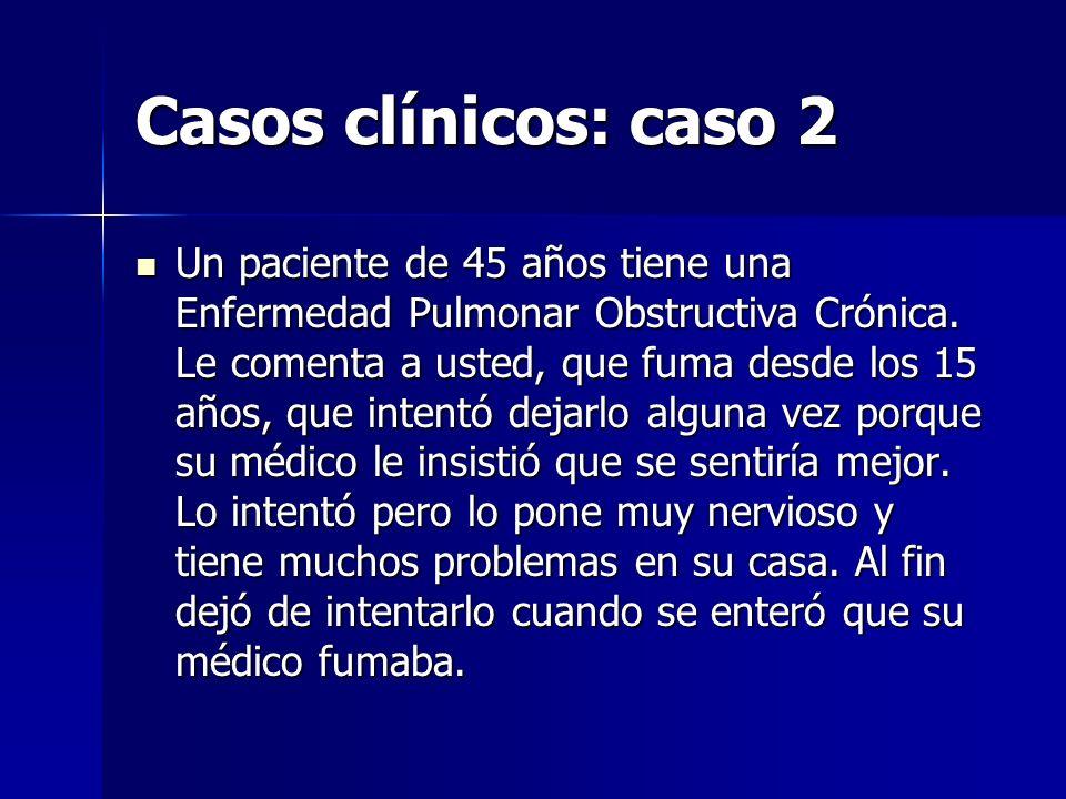 Casos clínicos: caso 2 Un paciente de 45 años tiene una Enfermedad Pulmonar Obstructiva Crónica. Le comenta a usted, que fuma desde los 15 años, que i