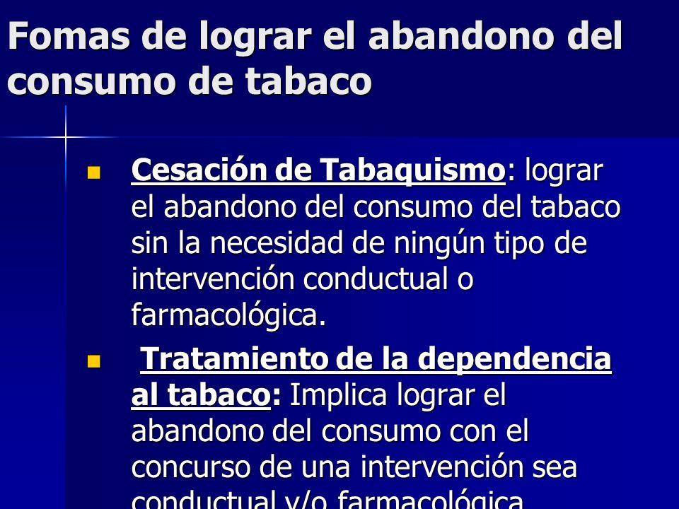 Fomas de lograr el abandono del consumo de tabaco Cesación de Tabaquismo: lograr el abandono del consumo del tabaco sin la necesidad de ningún tipo de