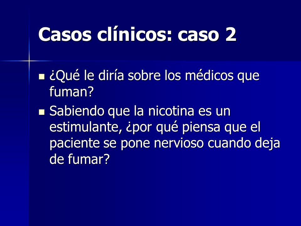 Casos clínicos: caso 2 ¿Qué le diría sobre los médicos que fuman? ¿Qué le diría sobre los médicos que fuman? Sabiendo que la nicotina es un estimulant