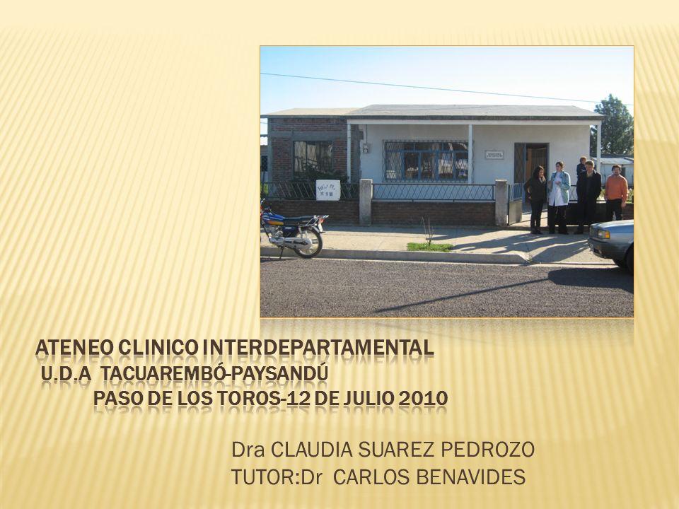 Dra CLAUDIA SUAREZ PEDROZO TUTOR:Dr CARLOS BENAVIDES