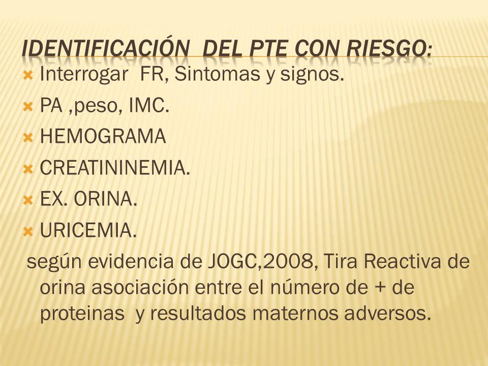 Interrogar FR, Sintomas y signos. PA,peso, IMC. HEMOGRAMA CREATININEMIA. EX. ORINA. URICEMIA. según evidencia de JOGC,2008, Tira Reactiva de orina aso