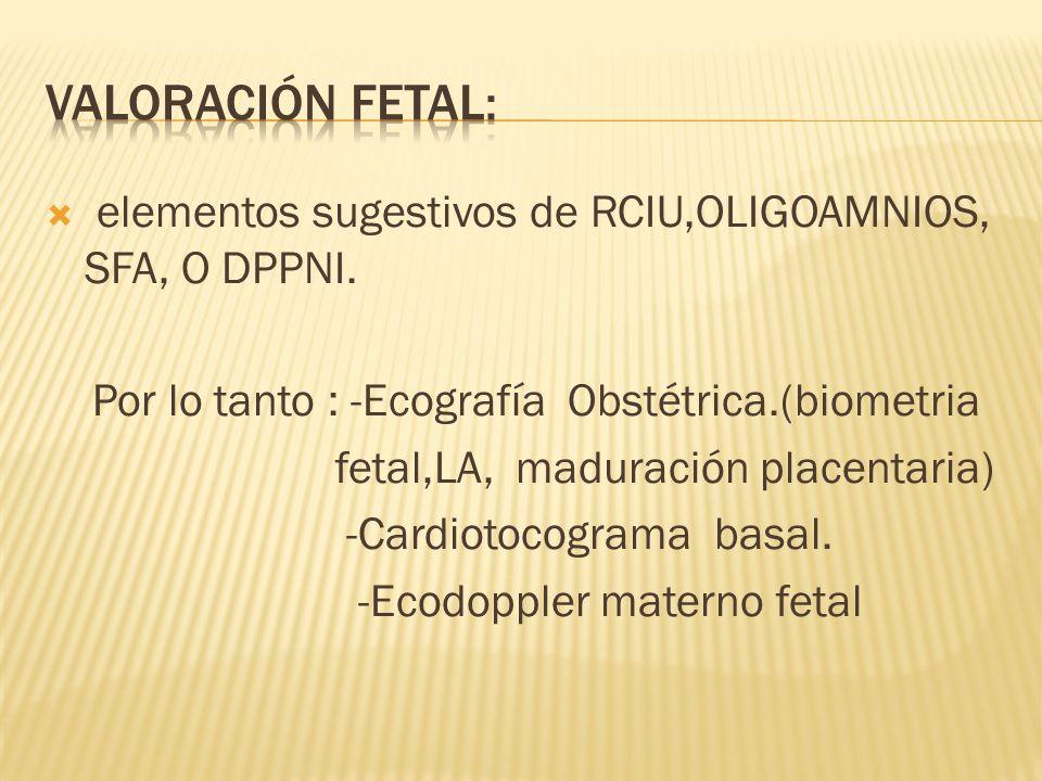 elementos sugestivos de RCIU,OLIGOAMNIOS, SFA, O DPPNI. Por lo tanto : -Ecografía Obstétrica.(biometria fetal,LA, maduración placentaria) -Cardiotocog