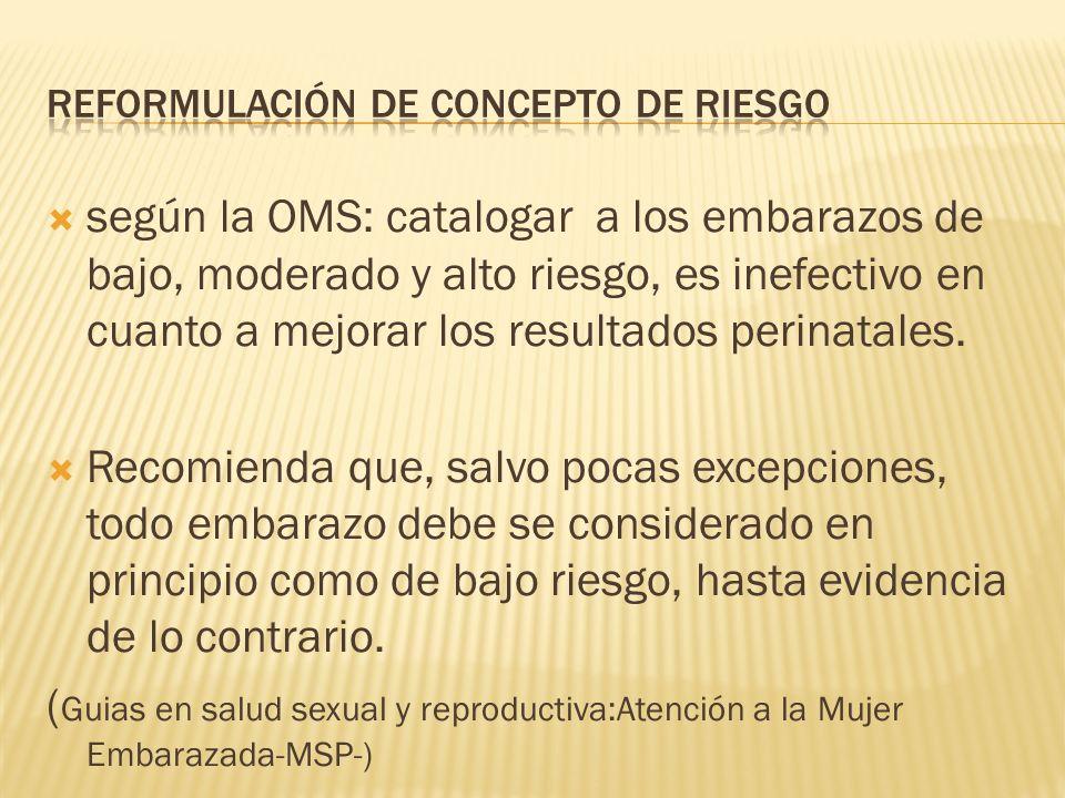 según la OMS: catalogar a los embarazos de bajo, moderado y alto riesgo, es inefectivo en cuanto a mejorar los resultados perinatales. Recomienda que,