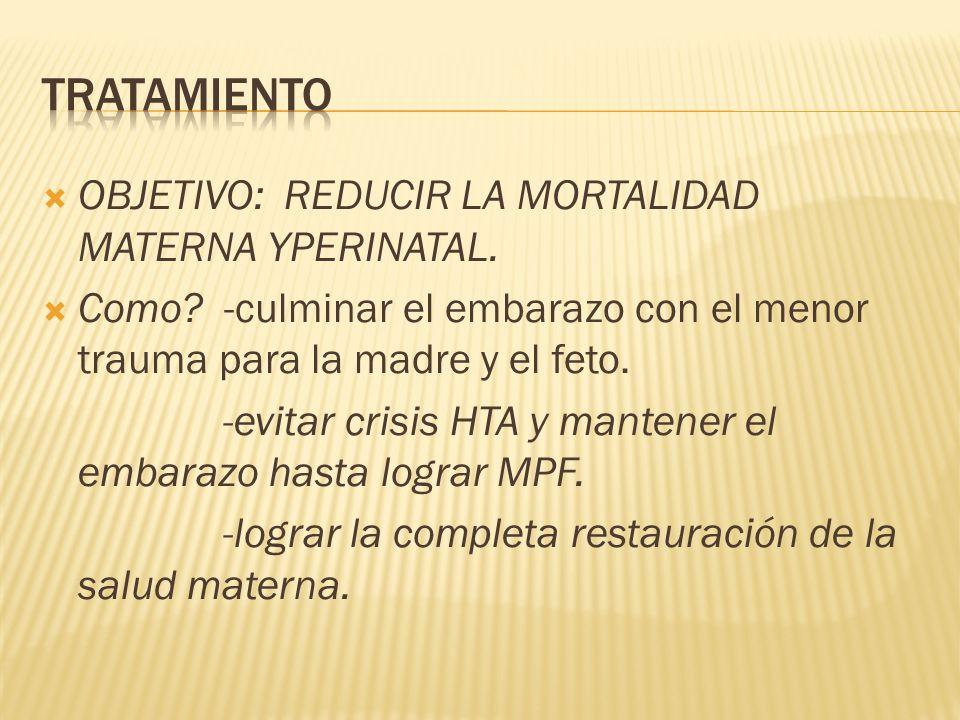 OBJETIVO: REDUCIR LA MORTALIDAD MATERNA YPERINATAL. Como? -culminar el embarazo con el menor trauma para la madre y el feto. -evitar crisis HTA y mant