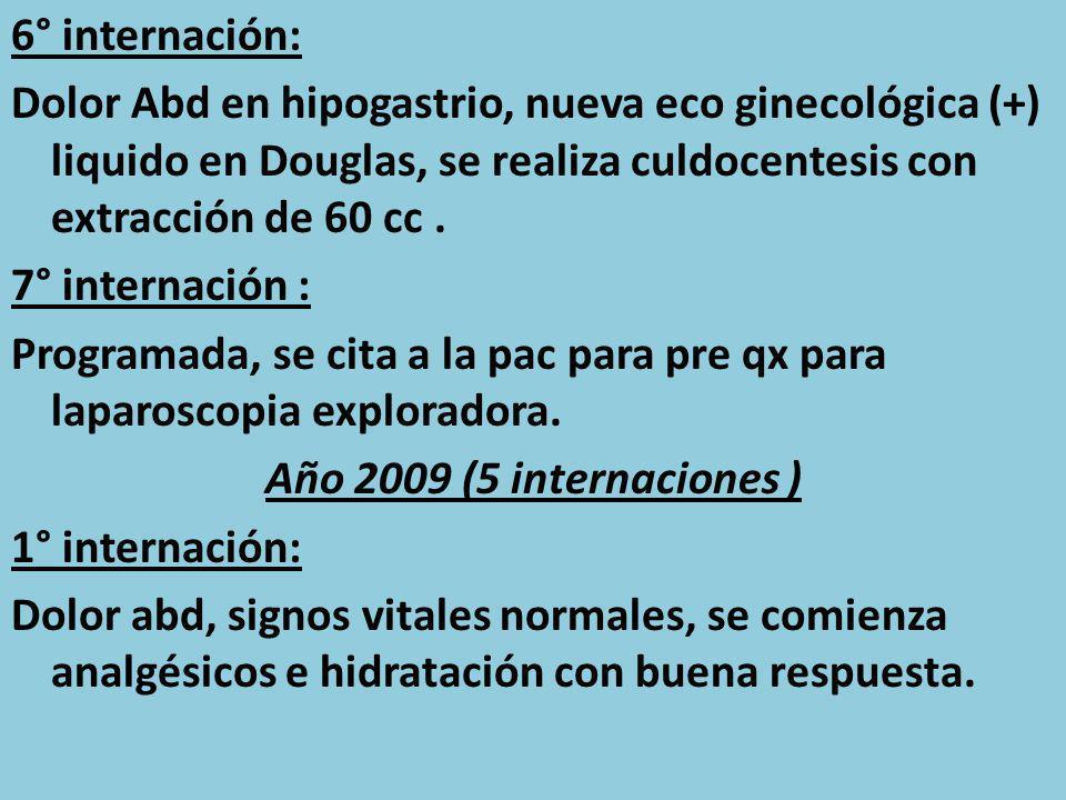 6° internación: Dolor Abd en hipogastrio, nueva eco ginecológica (+) liquido en Douglas, se realiza culdocentesis con extracción de 60 cc. 7° internac