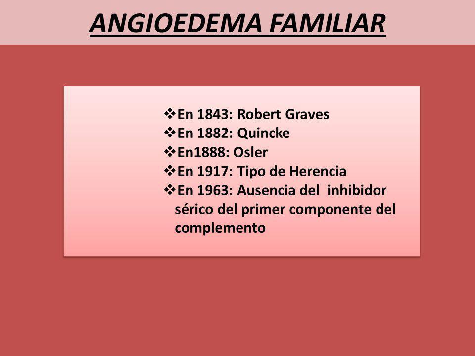 ANGIOEDEMA FAMILIAR En 1843: Robert Graves En 1882: Quincke En1888: Osler En 1917: Tipo de Herencia En 1963: Ausencia del inhibidor sérico del primer