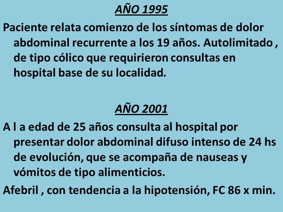 AÑO 1995 Paciente relata comienzo de los síntomas de dolor abdominal recurrente a los 19 años. Autolimitado, de tipo cólico que requirieron consultas