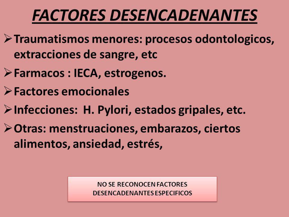 FACTORES DESENCADENANTES Traumatismos menores: procesos odontologicos, extracciones de sangre, etc Farmacos : IECA, estrogenos. Factores emocionales I