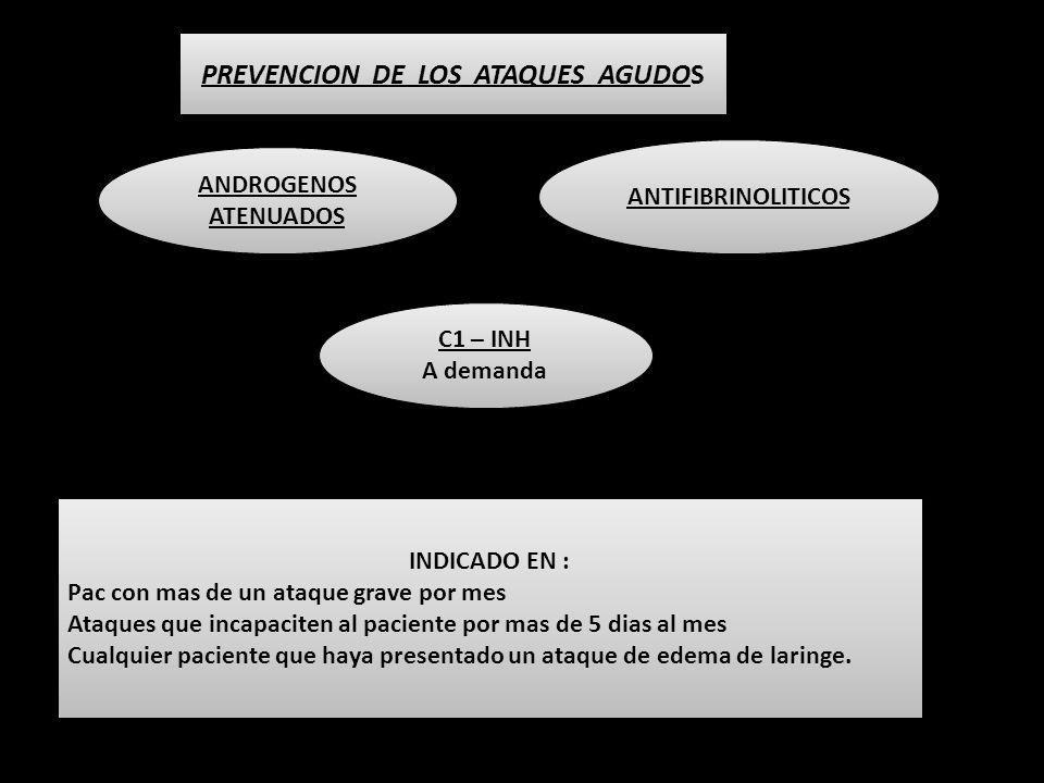 PREVENCION DE LOS ATAQUES AGUDOS ANDROGENOS ATENUADOS ANTIFIBRINOLITICOS C1 – INH A demanda C1 – INH A demanda INDICADO EN : Pac con mas de un ataque