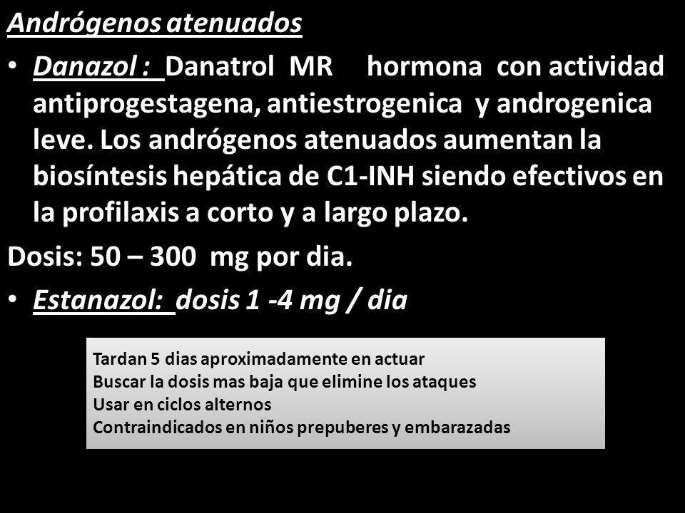 Andrógenos atenuados Danazol : Danatrol MR hormona con actividad antiprogestagena, antiestrogenica y androgenica leve. Los andrógenos atenuados aument