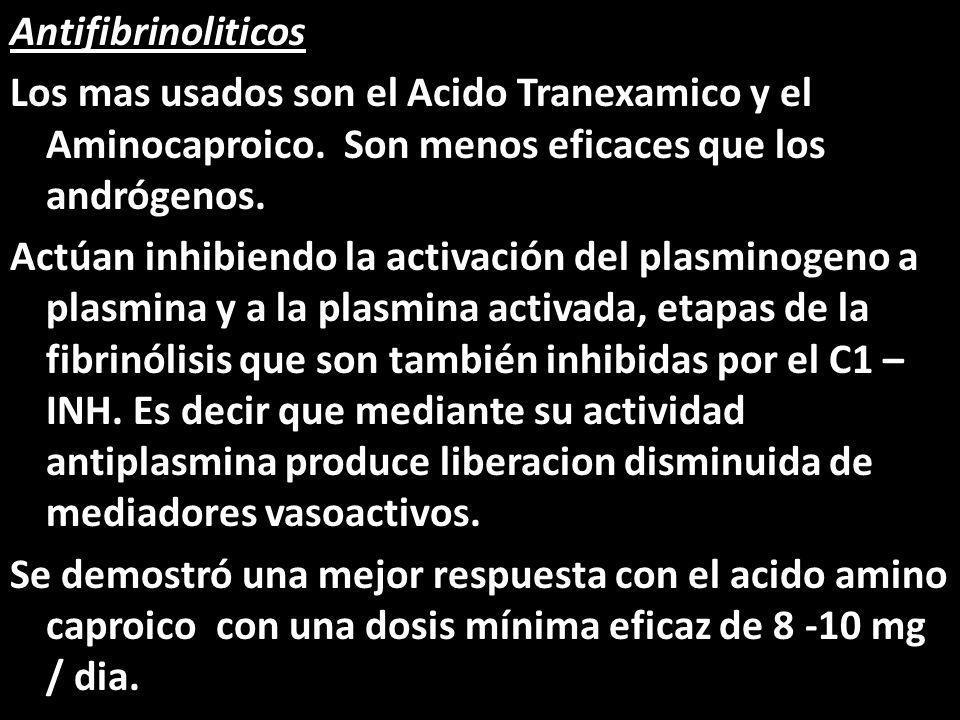 Antifibrinoliticos Los mas usados son el Acido Tranexamico y el Aminocaproico. Son menos eficaces que los andrógenos. Actúan inhibiendo la activación
