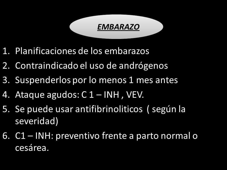 1.Planificaciones de los embarazos 2.Contraindicado el uso de andrógenos 3.Suspenderlos por lo menos 1 mes antes 4.Ataque agudos: C 1 – INH, VEV. 5.Se