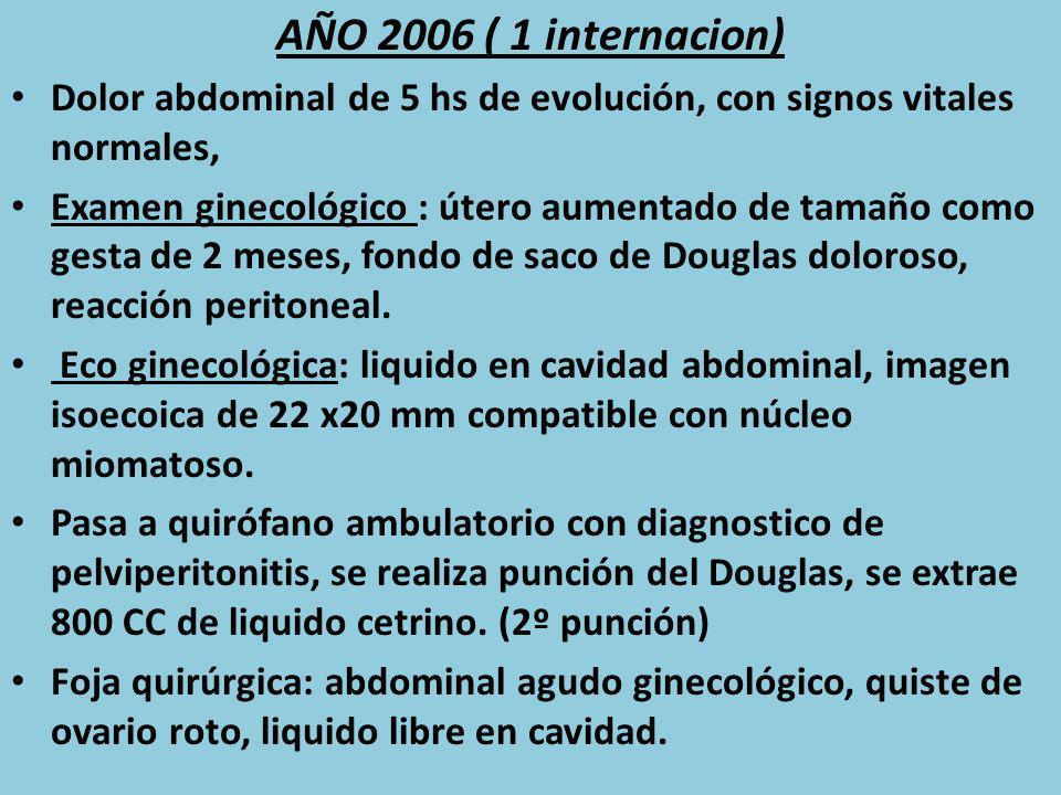 AÑO 2006 ( 1 internacion) Dolor abdominal de 5 hs de evolución, con signos vitales normales, Examen ginecológico : útero aumentado de tamaño como gest