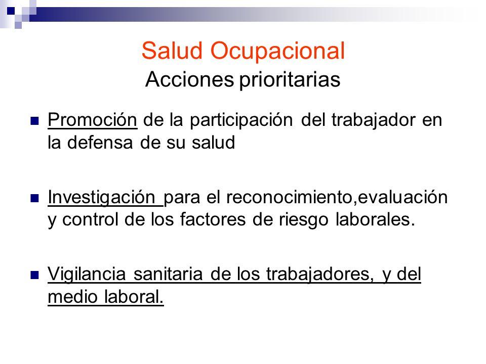 Salud Ocupacional Acciones prioritarias Promoción de la participación del trabajador en la defensa de su salud Investigación para el reconocimiento,ev