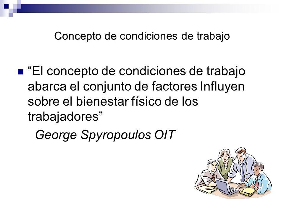 Concepto de Concepto de condiciones de trabajo El concepto de condiciones de trabajo abarca el conjunto de factores Influyen sobre el bienestar físico