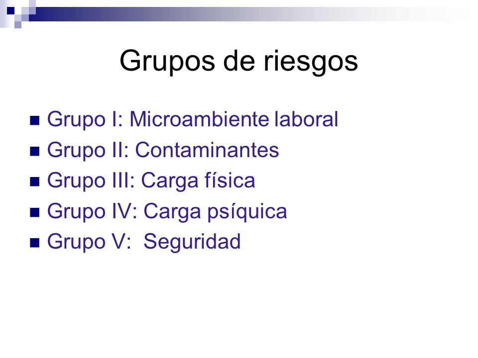 Grupos de riesgos Grupo I: Microambiente laboral Grupo II: Contaminantes Grupo III: Carga física Grupo IV: Carga psíquica Grupo V: Seguridad