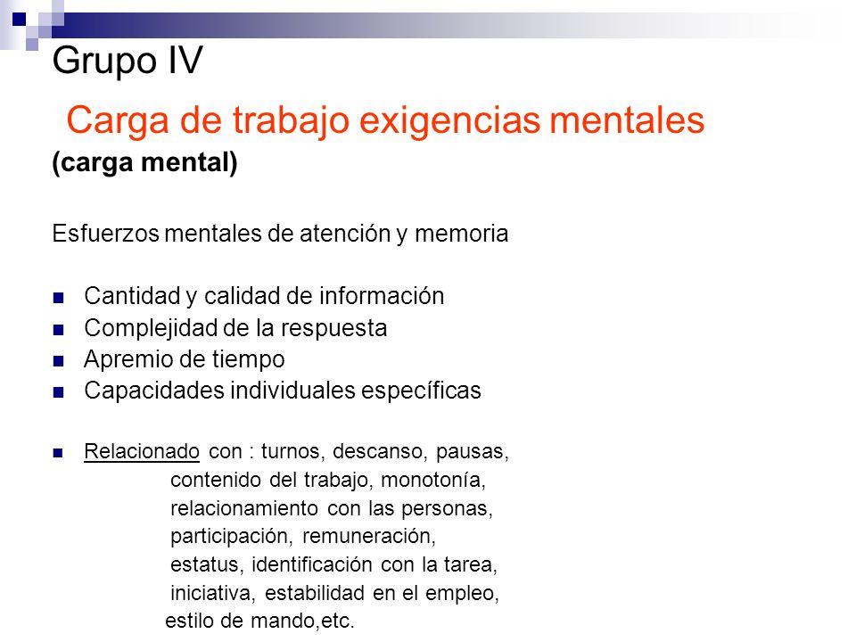 Grupo IV Carga de trabajo exigencias mentales (carga mental) Esfuerzos mentales de atención y memoria Cantidad y calidad de información Complejidad de