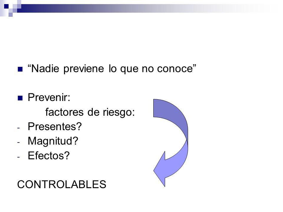 Nadie previene lo que no conoce Prevenir: factores de riesgo: - Presentes? - Magnitud? - Efectos? CONTROLABLES