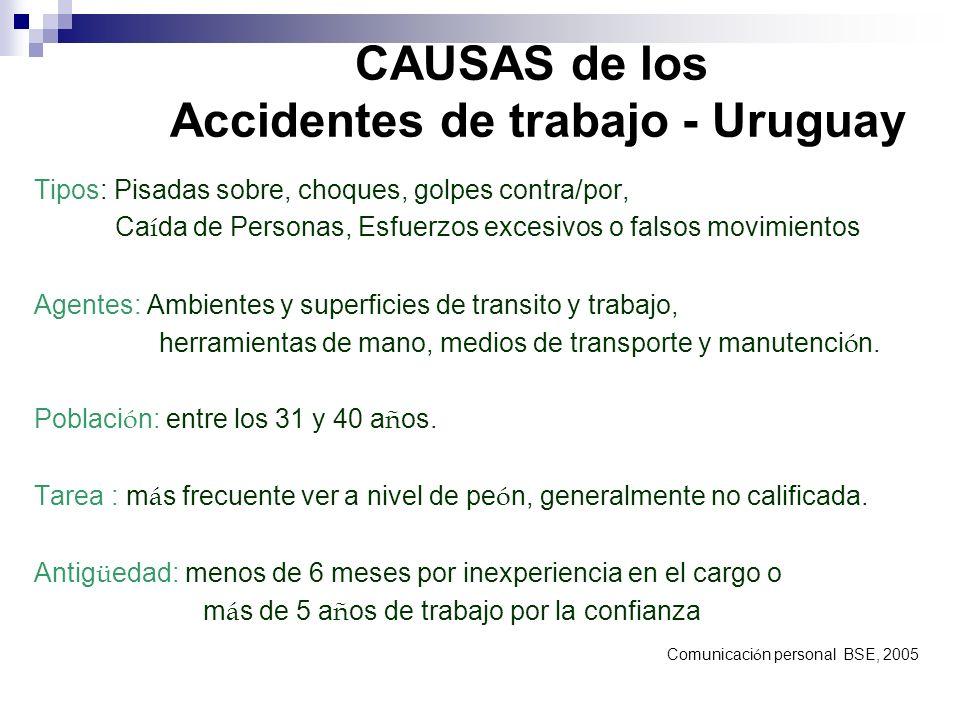 CAUSAS de los Accidentes de trabajo - Uruguay Tipos: Pisadas sobre, choques, golpes contra/por, Ca í da de Personas, Esfuerzos excesivos o falsos movi
