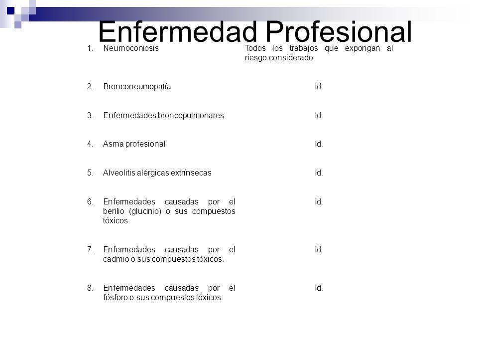 Enfermedad Profesional 1.NeumoconiosisTodos los trabajos que expongan al riesgo considerado. 2.BronconeumopatíaId. 3.Enfermedades broncopulmonaresId.
