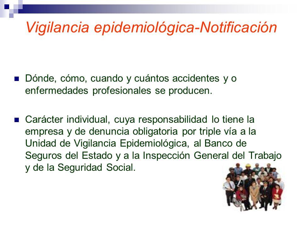 Vigilancia epidemiológica-Notificación Dónde, cómo, cuando y cuántos accidentes y o enfermedades profesionales se producen. Carácter individual, cuya