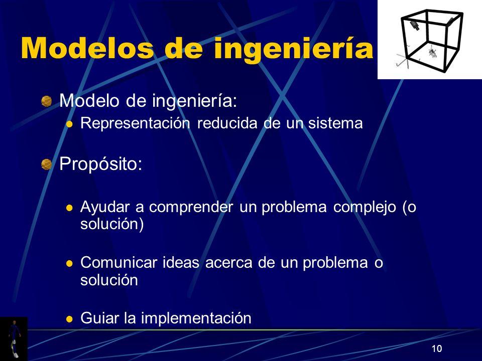 10 Modelos de ingeniería Modelo de ingeniería: Representación reducida de un sistema Propósito: Ayudar a comprender un problema complejo (o solución) Comunicar ideas acerca de un problema o solución Guiar la implementación