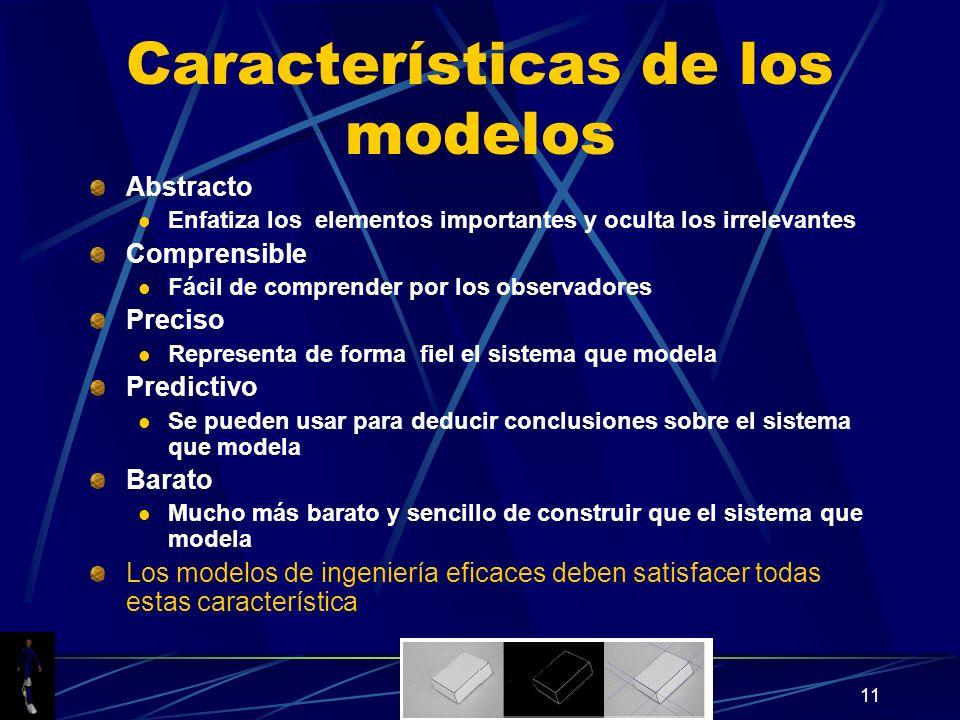 11 Características de los modelos Abstracto Enfatiza los elementos importantes y oculta los irrelevantes Comprensible Fácil de comprender por los obse