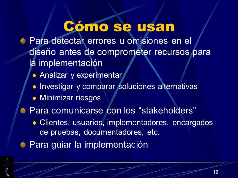 12 Cómo se usan Para detectar errores u omisiones en el diseño antes de comprometer recursos para la implementación Analizar y experimentar Investigar