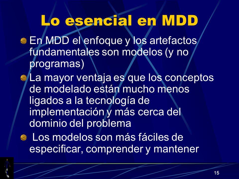 15 Lo esencial en MDD En MDD el enfoque y los artefactos fundamentales son modelos (y no programas) La mayor ventaja es que los conceptos de modelado están mucho menos ligados a la tecnología de implementación y más cerca del dominio del problema Los modelos son más fáciles de especificar, comprender y mantener