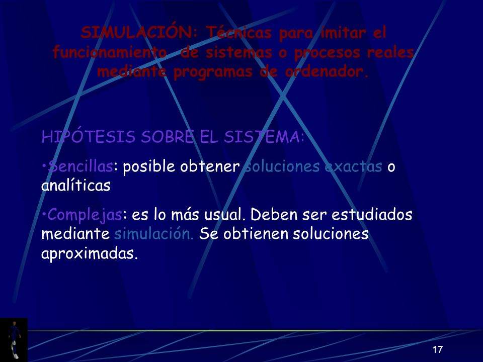 17 SIMULACIÓN: Técnicas para imitar el funcionamiento de sistemas o procesos reales mediante programas de ordenador.