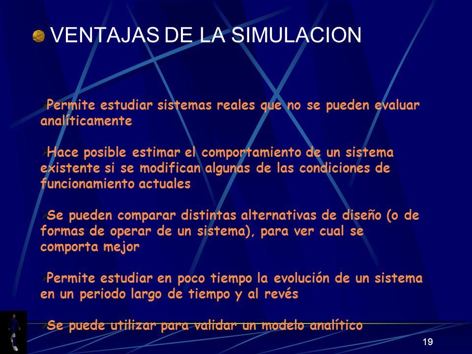 19 VENTAJAS DE LA SIMULACION Permite estudiar sistemas reales que no se pueden evaluar analíticamente Hace posible estimar el comportamiento de un sis