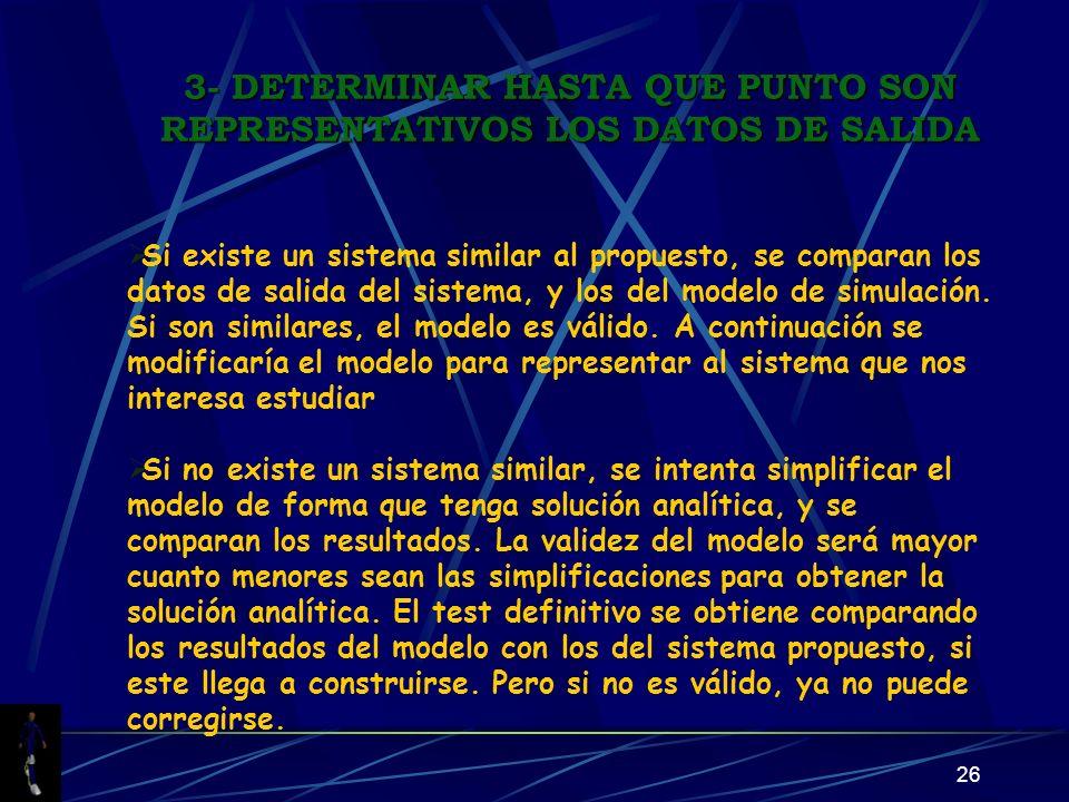 26 Si existe un sistema similar al propuesto, se comparan los datos de salida del sistema, y los del modelo de simulación. Si son similares, el modelo