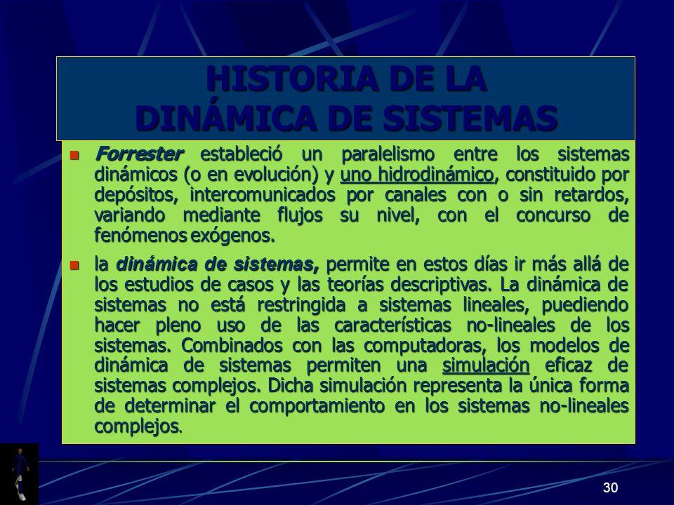 30 HISTORIA DE LA DINÁMICA DE SISTEMAS n Forrester estableció un paralelismo entre los sistemas dinámicos (o en evolución) y uno hidrodinámico, consti