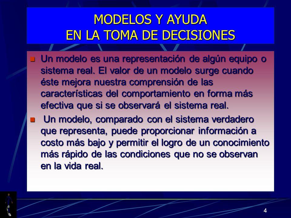 4 MODELOS Y AYUDA EN LA TOMA DE DECISIONES n Un modelo es una representación de algún equipo o sistema real. El valor de un modelo surge cuando éste m