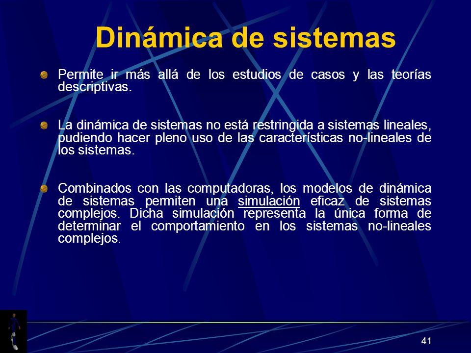 41 Dinámica de sistemas Permite ir más allá de los estudios de casos y las teorías descriptivas. La dinámica de sistemas no está restringida a sistema