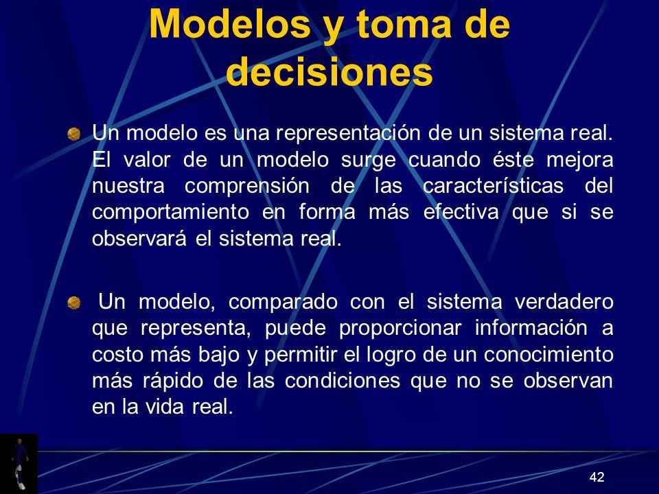42 Modelos y toma de decisiones Un modelo es una representación de un sistema real. El valor de un modelo surge cuando éste mejora nuestra comprensión