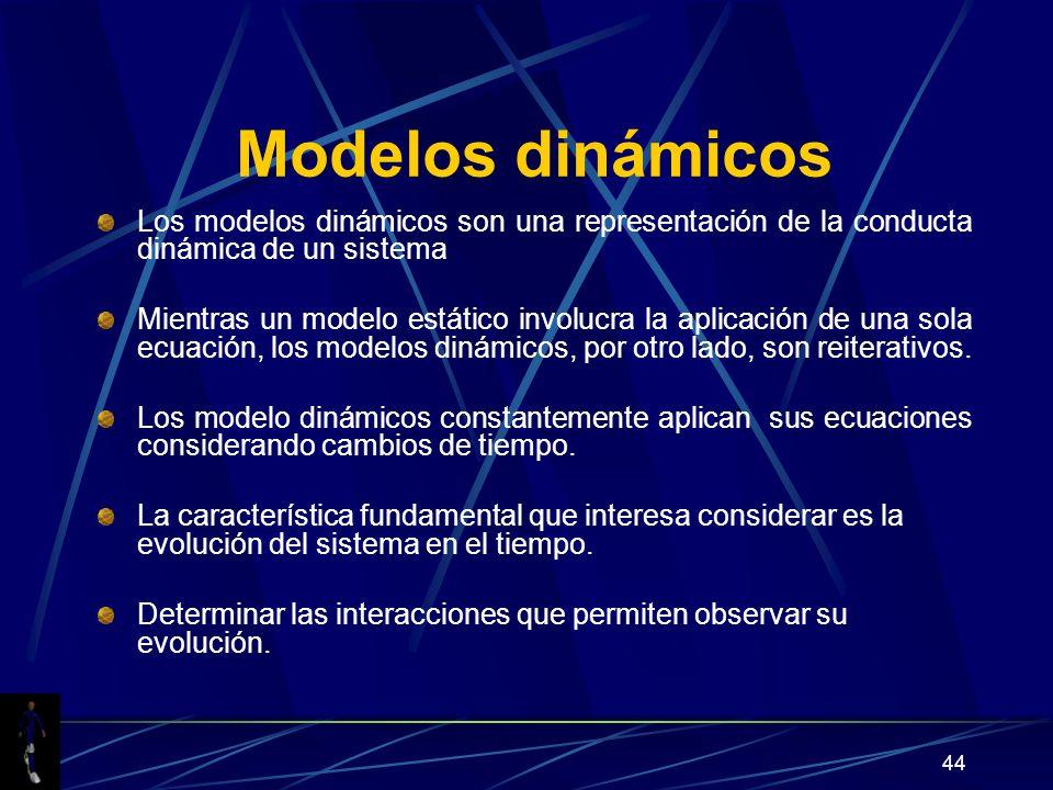 44 Modelos dinámicos Los modelos dinámicos son una representación de la conducta dinámica de un sistema Mientras un modelo estático involucra la aplicación de una sola ecuación, los modelos dinámicos, por otro lado, son reiterativos.